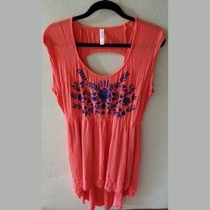 Hi-low hem embroidered dress